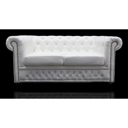 Canap chesterfield xl 2 places blanc achat vente for Canape densite 35 kg m3