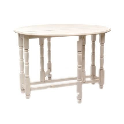 table ronde pliable en bois massif coloris blanc achat vente table a manger sans chaise. Black Bedroom Furniture Sets. Home Design Ideas