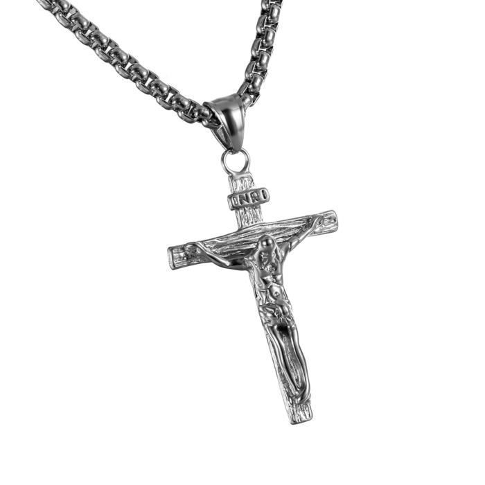 Men/'s Vintage Noir Ton Argent En Acier Inoxydable religieux Croix Collier Pendentif