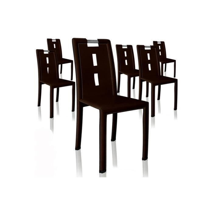 Lot de 6 chaises design mano marron fonc achat vente - Lot de 6 chaises ...