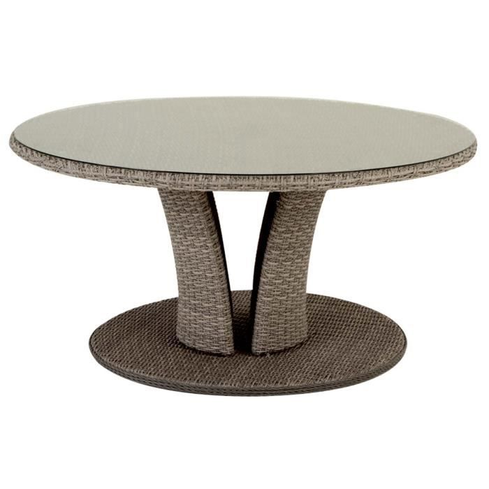 Table ronde r sine tress e libertad 8 places 160 cm taupe for Table basse jardin resine tressee