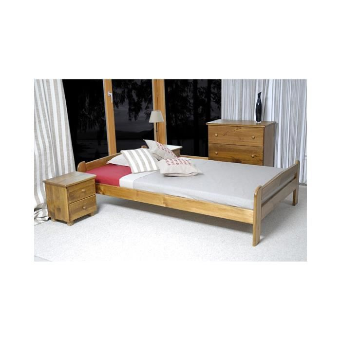 justhome anja lit en bois sommier lattes couleur ch ne 120 x 200 cm achat vente lit. Black Bedroom Furniture Sets. Home Design Ideas