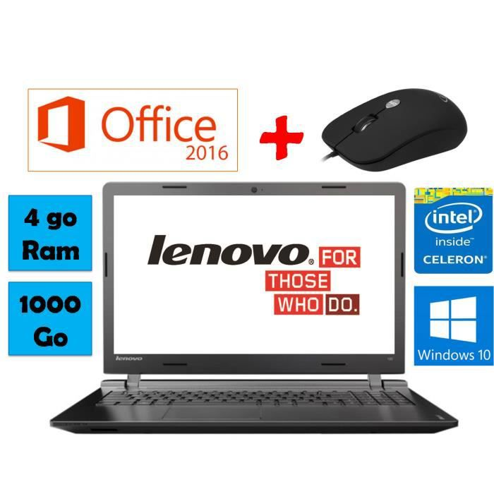lenovo pc portable avec pack office et souris prix pas cher cdiscount. Black Bedroom Furniture Sets. Home Design Ideas