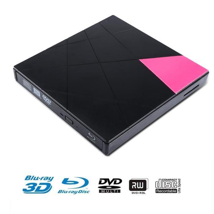 LECTEUR - GRAVEUR EXT. Lecteur DVD externe Blu-Ray, USB 3,0 Ultra Slim 3D