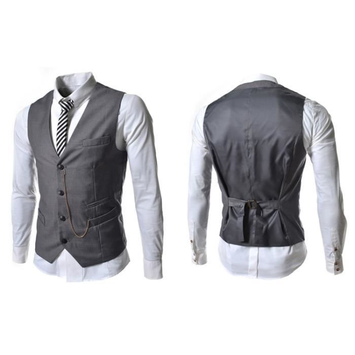 gilet hommes slim fit costume de mariage vest gris gris achat vente gilet de costume. Black Bedroom Furniture Sets. Home Design Ideas