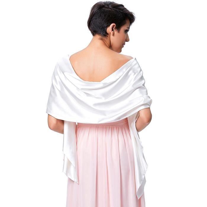 Femme Satin Echarpe Chale Foulard Etole Pour Robes De Soiree Mariees Blanc Blanc Achat Vente Echarpe Foulard Bientot Le Black Friday Cdiscount