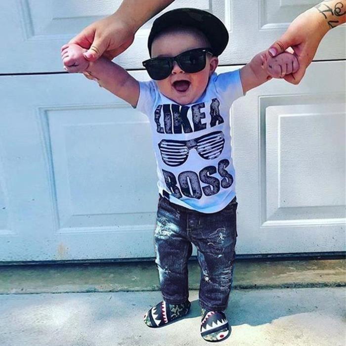 JEANS Tout-petits enfants Baby Boy Tenues Vêtements Lett