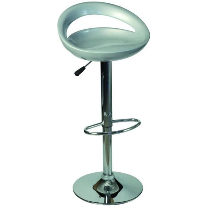 tabouret de bar argent assise en plastique l achat. Black Bedroom Furniture Sets. Home Design Ideas