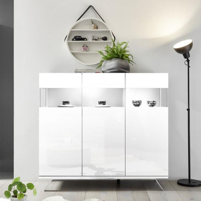 BUFFET - BAHUT  Buffet 3 portes Laqué Blanc à LEDs - TARENTE n°1 -