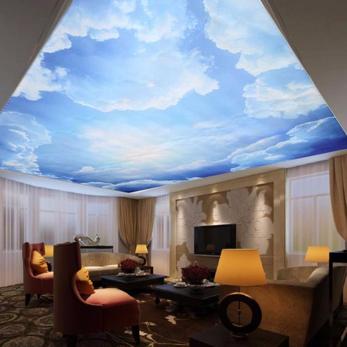 Papier Peint Trompe L Oeil Plafond tempsa 3d papier peint bleu ciel en toile plafond pour deco
