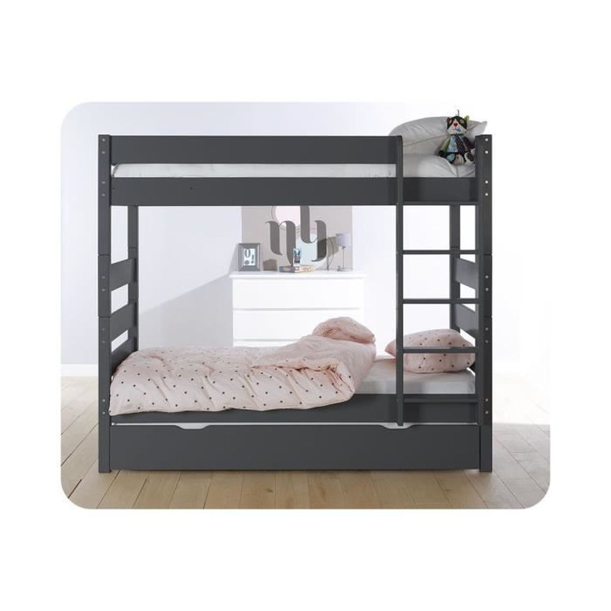 lit superpos kids avec sommier gigogne gris fonc achat vente lits superpos s lit superpos. Black Bedroom Furniture Sets. Home Design Ideas