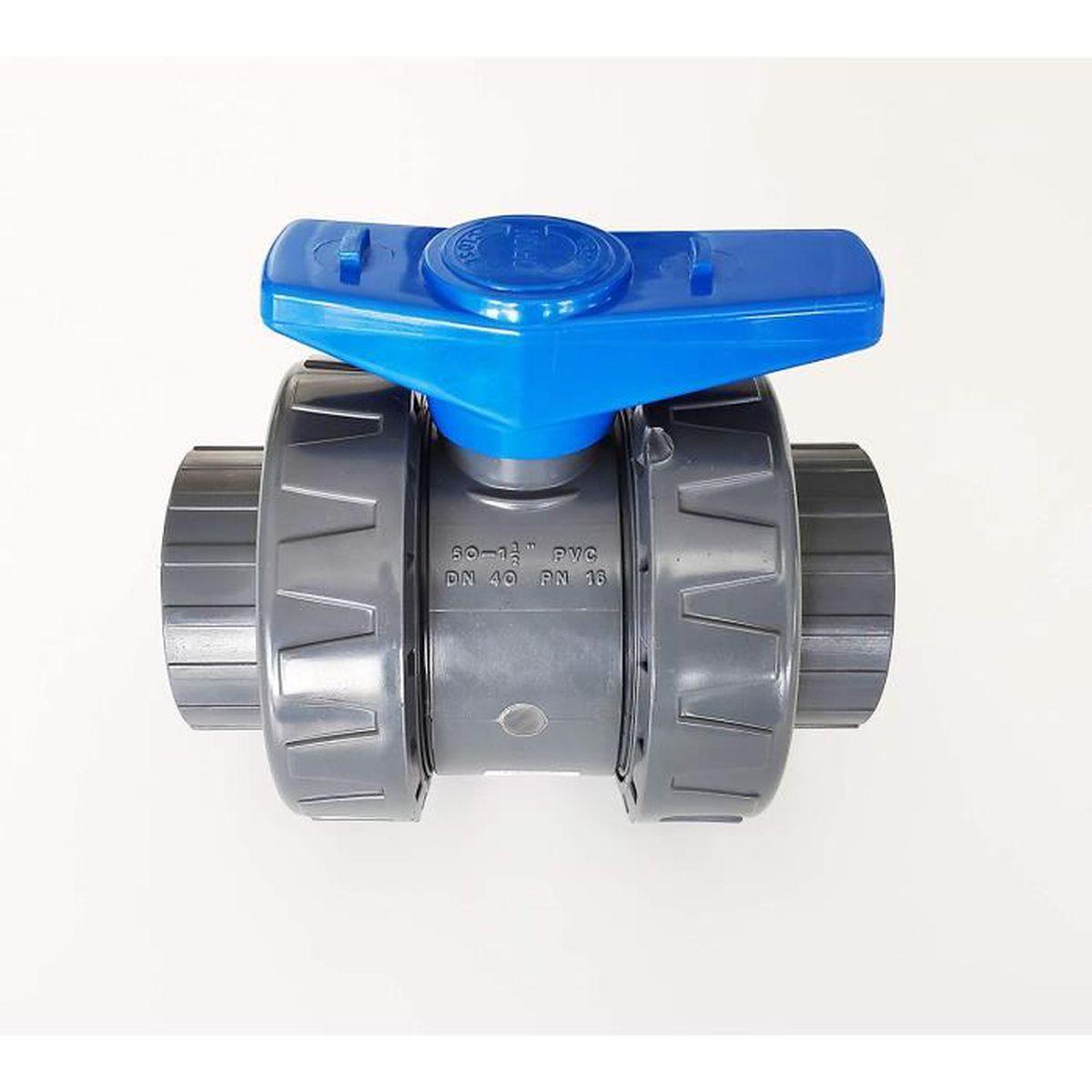 50 mm PN16 PVC PRESSION Piscine Vanne Mod/èle 2020 Interplast 50mm /à coller double union d/émontable 5cm