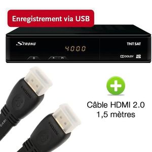STRONG SRT 7404 Décodeur TNT HD satellite + câble HDMI 2.0