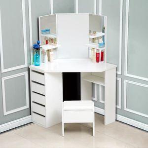 COIFFEUSE Bureau de maquillage avec 5 tiroirs, 3 miroirs et