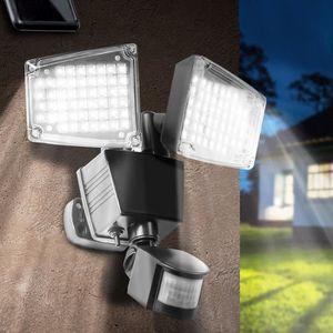 PROJECTEUR EXTÉRIEUR Projecteur solaire 2 têtes 100 led détecteur de mo