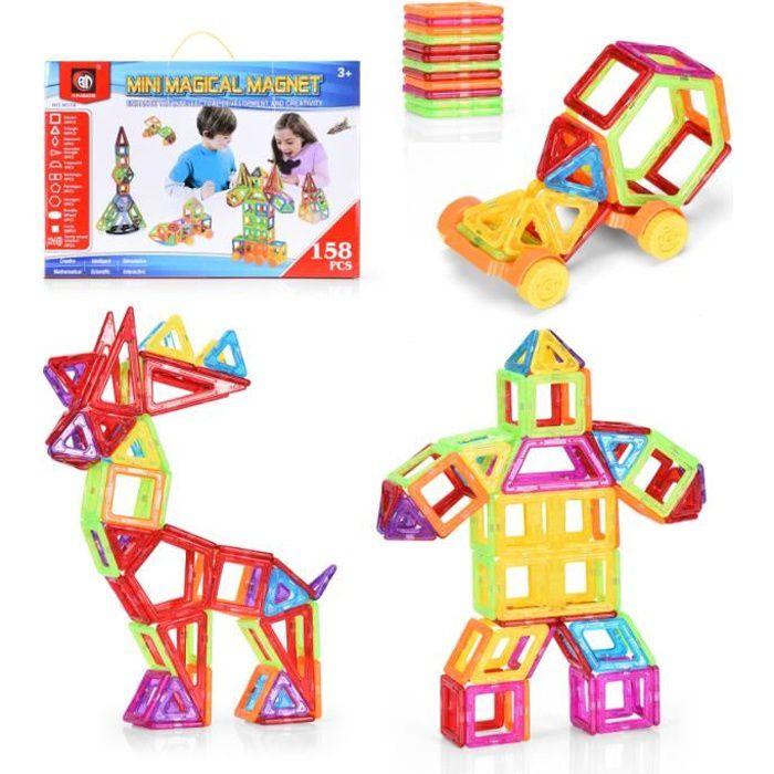COSTWAY Blocs de Construction 158 Pièces Magnétiques Jeux de Construction Aimanté Cadeau Educatif et Instructif pour Enfants