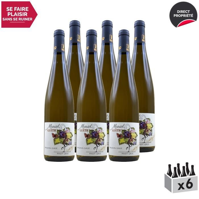 Alsace Original'sace Pinot Gris Blanc 2017 - Lot de 6x75cl - Domaine Gueth - Vin AOC Blanc d' Alsace - Cépage Pinot Gris