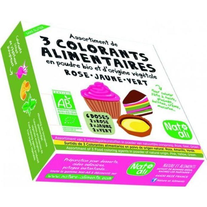 Nat-Ali - Colorants alimentaires étui 3 couleurs poudre 30gr