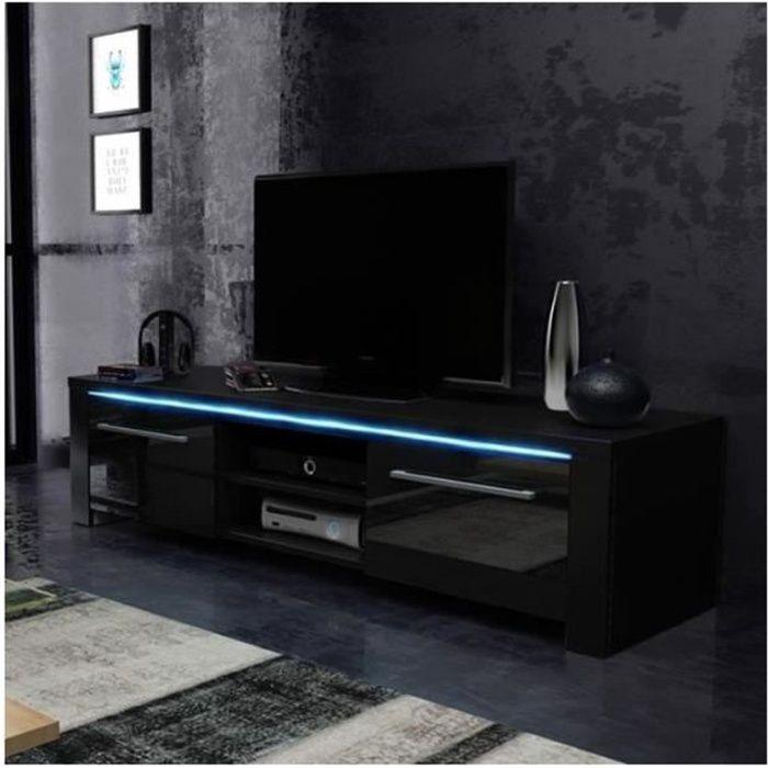 Meuble TV design MANHATTAN 140 cm à 2 portes & 2 niches coloris noir mat et noir brillant + led Noir