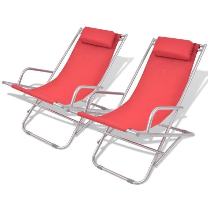 Chaises longues-Chaise de jardin Camping pliables 2 pcs Chaise de Repose 69 x 61 x 94 cm (l x P x H) Pliante Transat DE jardin��5710