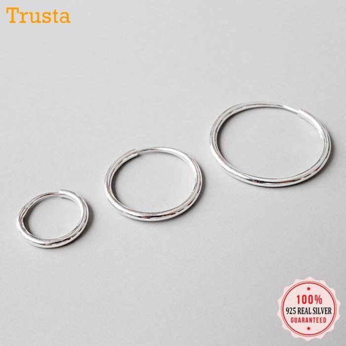 Trustdavis 100% 925 solide en argent Sterling Unique en forme de Piercing Huggie cerceau boucle d - Modèle: 1Pair 13mm  - KUEHB02475