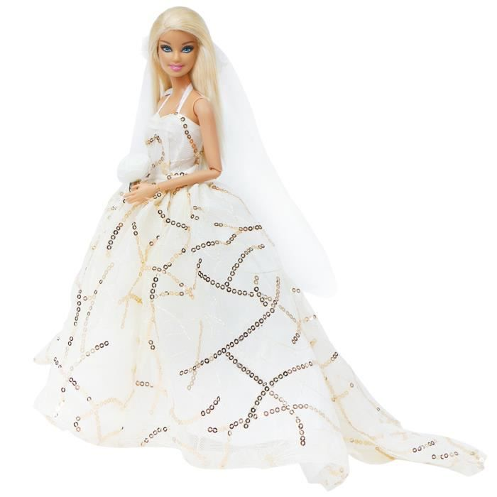 Mode bretelles dentelle robe de bal mariée blanc robes de mariée princesse traînant voile vêtements pour Barbie poupée accessoires