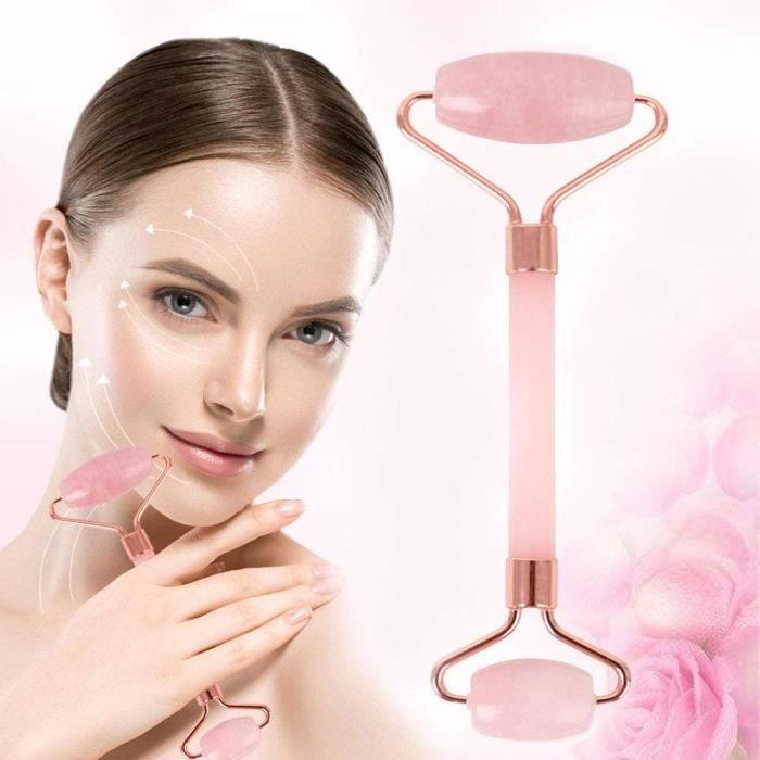 Accessoires de massage manuel Rouleau de Jade Rouleau Massage Visage Rose Quartz 100% Naturelle Pour Circulation Sanguin 179706