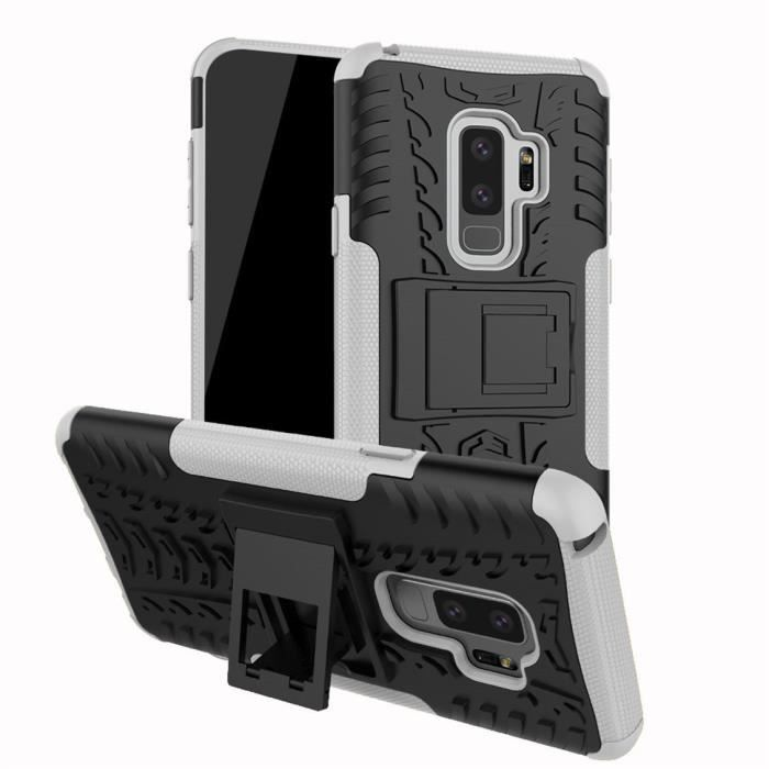 Antichoc Coque Samsung Galaxy S9 Plus Coque Armure Béquille Cover avec Support Blanc