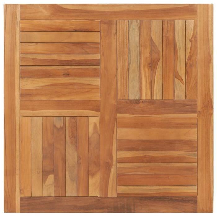 Design-8702Magnifique Dessus de table Plateau de Table Meuble Scandinave Décor- Plateau Pour Table Bois de teck solide Carré 90x90x2