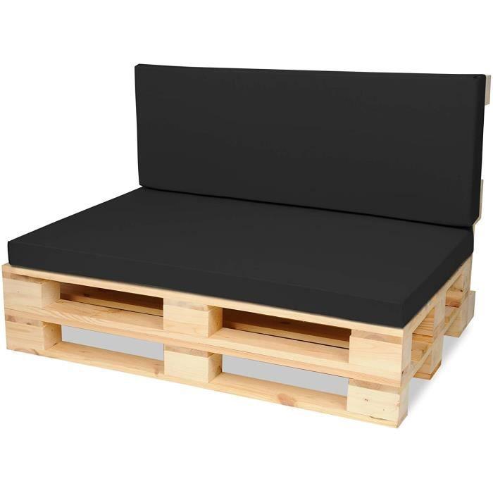 Matelas Coussin Dossier pour Palette Canapé 120x80 cm et Appui 120x40 - Intérieur/Extérieur – imperméable – Mousse - Noir
