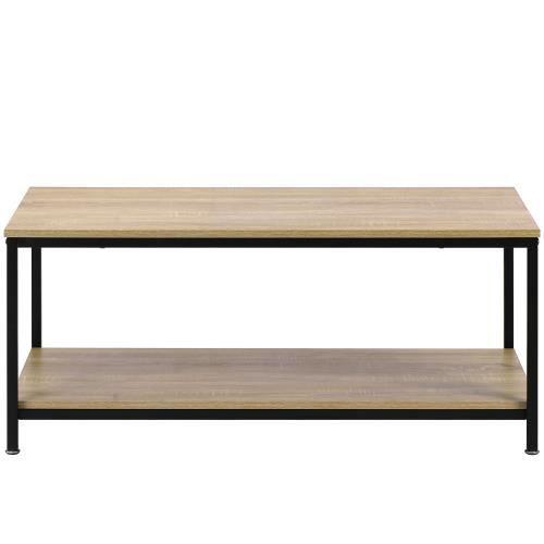 Table basse de style simple, table de salon rectangulaire avec cadre robuste en métal et grande étagère de rangement