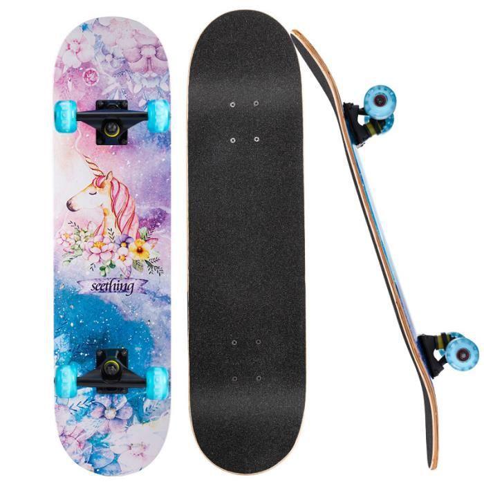 Skateboard Longboard Skateboard- Roues LED-Licorne