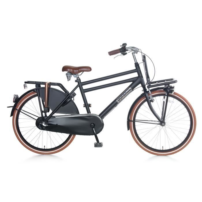 Vélo Fille Garçon Popal Daily Dutch Basic 24+ 24 Pouces Shimano Nexus 3 LED Phares Padlock Satin Noir 95% Assemblé