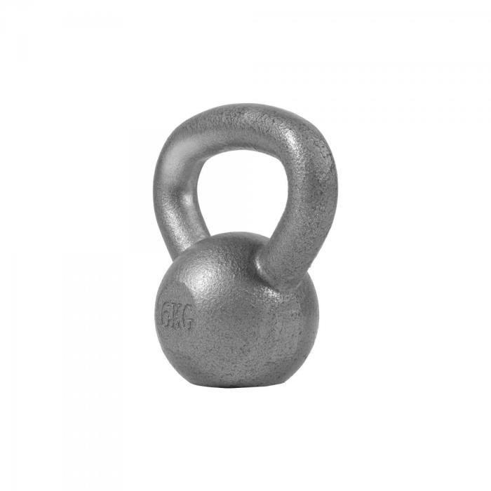 Gorilla Sports - Poids Kettlebell 2kg à 32kg en gris, noir ou dorés - GRIS - 6 KG Gris