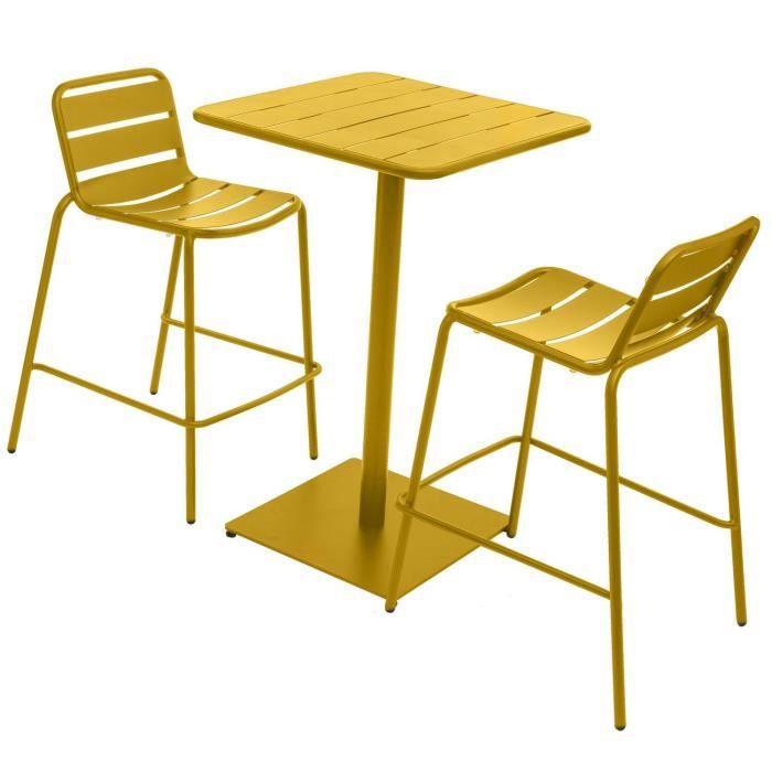 Table haute avec tabourets design Phuket - Jaune moutarde