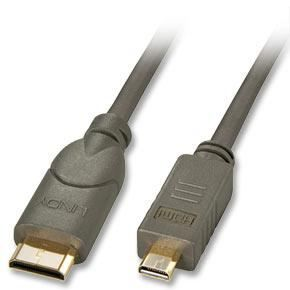 LINDY Câble micro HDMI® / mini HDMI®, compatible HDMI 2.0 Ultra HD, 0,5m