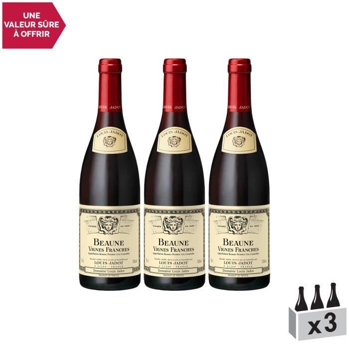 Beaune 1er Cru Les Vignes Franches Rouge 2015 - Lot de 3x75cl - Louis Jadot - Vin AOC Rouge de Bourgogne - Cépage Pinot Noir