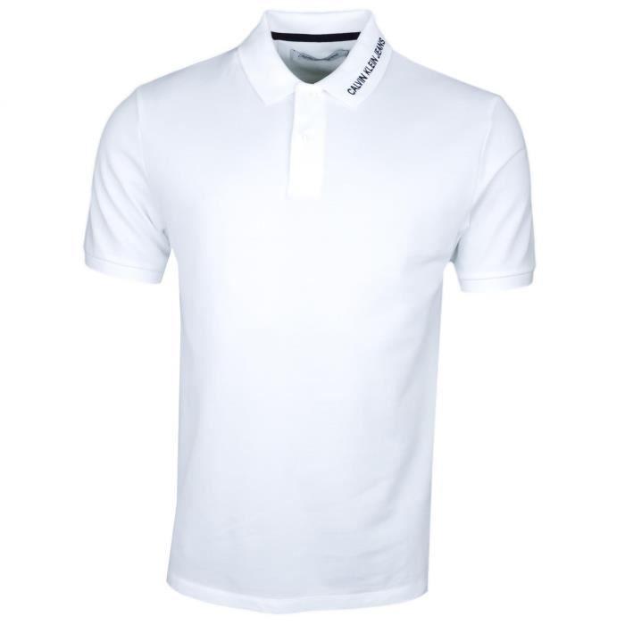 Polo Calvin Klein blanc inscription col régular fit pour homme - Couleur: Blanc - Taille: XL