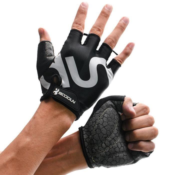DAMILY® Gants de fitness sport gants musculation respirants antidérapants-noir-XL