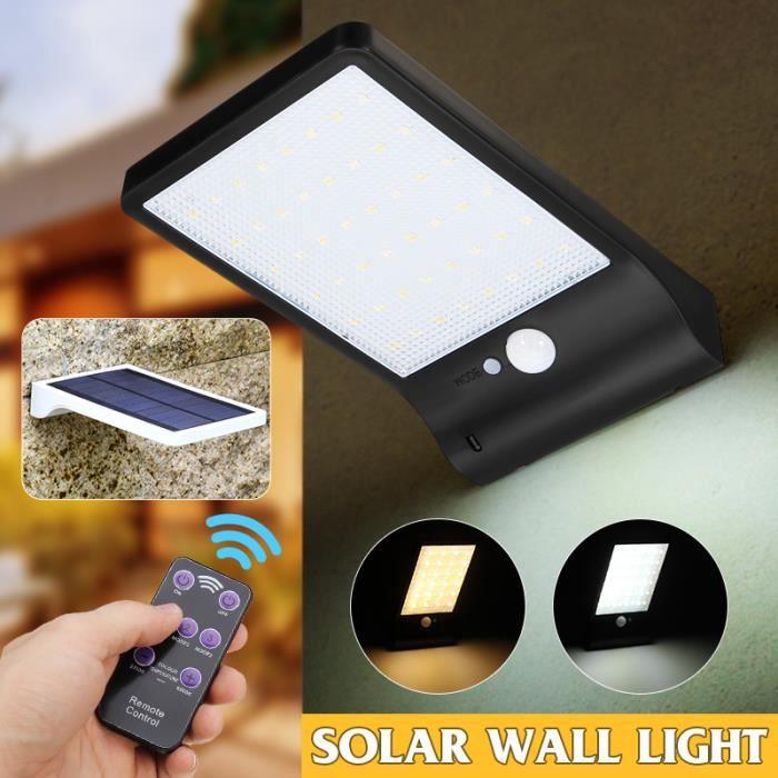 Lot 2 pcs Lampe solaire 48 LED télécommande sans fil étanche avec détecteur de mouvement pr extérieure jardin Noir