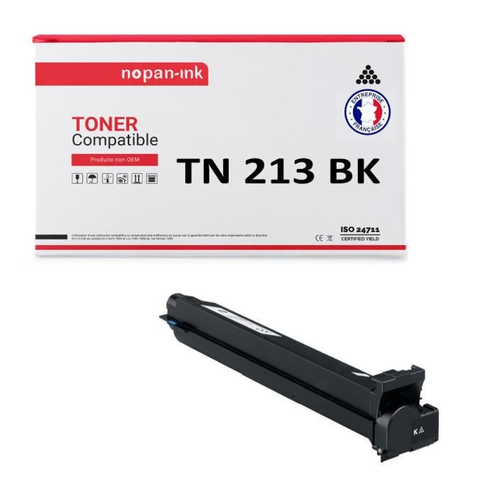 NOPAN-INK - Toner x1 - TN 213 (Noir) - Compatible pour Bizhub C200, C203 Bizhub C253, C353, C353P - NEC Vivid Office 2020 - PITNEY