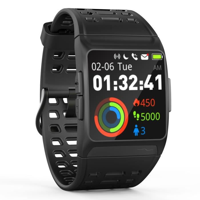 WEE'PLUG Explorer III Montre connectée GPS cardio - Multisports - Waterproof IP68 - Noir/Gris