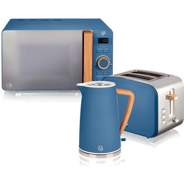 Set petit-déjeuner bouilloire grille-pain micro-ondes 20L Nordic Bleu SWAN STRP1060 Azul 49404