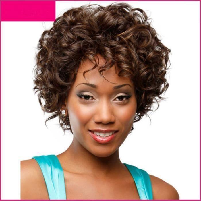 VOLIBEAR®Femme Perruque de Cheveux Court Frisé Faux Cheveux Postiche Marron Mode Cheveux Perruque Cheveux Naturels pour Femme 1pcs