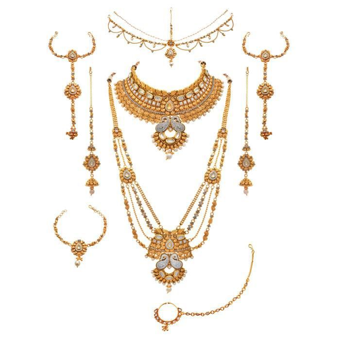 Womens Jfl - Traditional Ethnic One Gram Gold Plated Austrian & American Diamond Pearl Real Kundan KNEFT