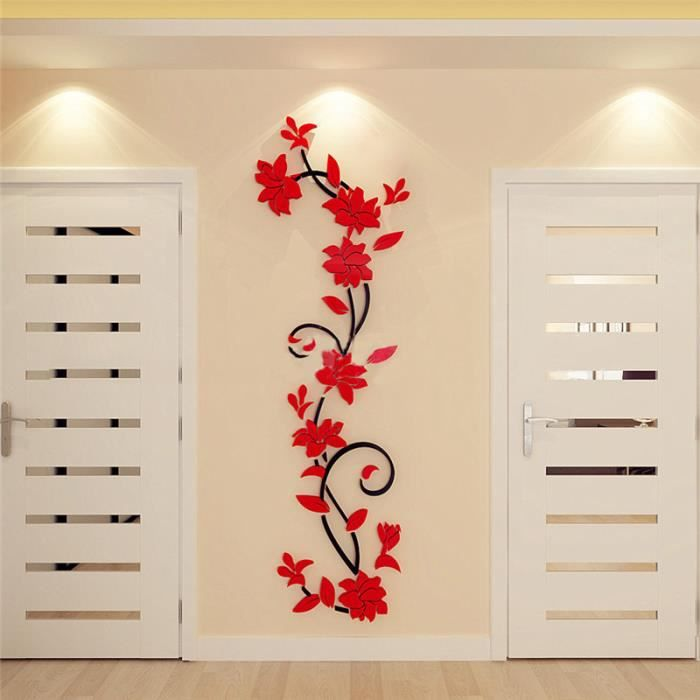 fleurs rouges stikers achat vente fleurs rouges. Black Bedroom Furniture Sets. Home Design Ideas
