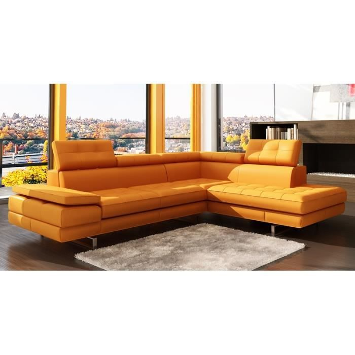 canap d 39 angle capitonn orange t ti res relevable achat vente canap sofa divan cdiscount. Black Bedroom Furniture Sets. Home Design Ideas