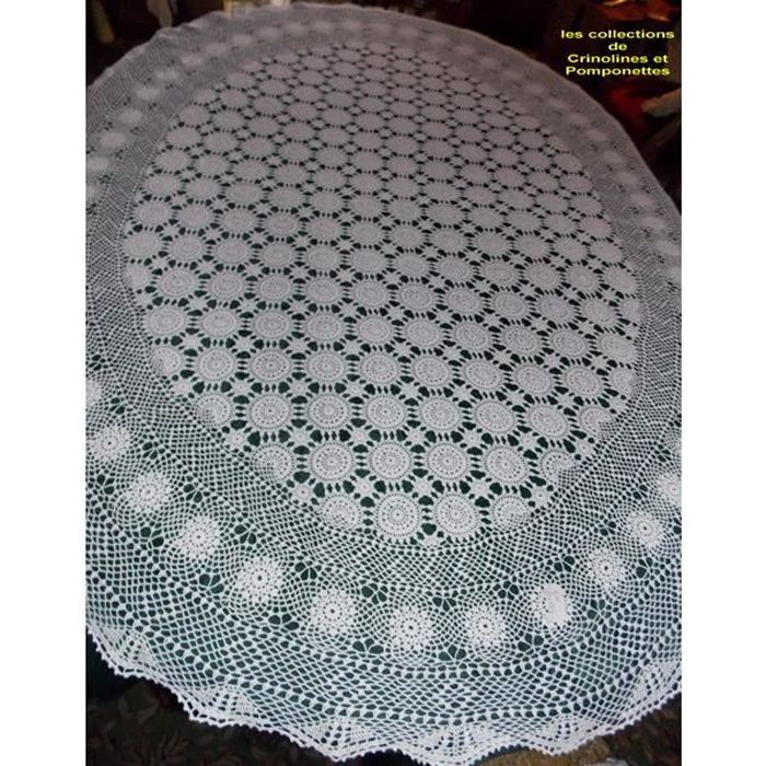 nappe crochet fait main deco ovale 135x170 achat vente nappe de table cdiscount. Black Bedroom Furniture Sets. Home Design Ideas