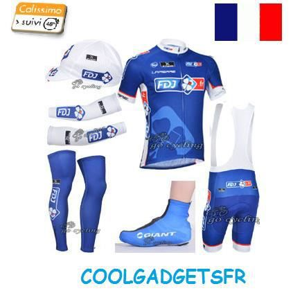 tenue compl te maillot cuissard fdj v lo cyclisme achat vente t shirt maillot de sport. Black Bedroom Furniture Sets. Home Design Ideas