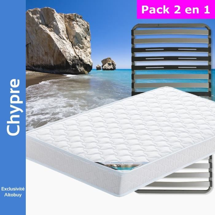 chypre pack matelas altozone 90x200 blanc achat vente ensemble literie cdiscount. Black Bedroom Furniture Sets. Home Design Ideas